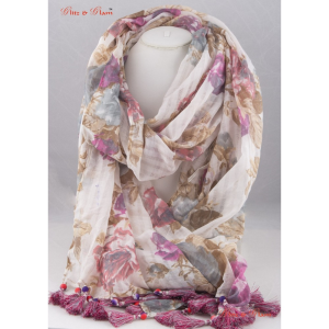 Scarf - Beach wear scarf with pastel shades of pink, blue and beige