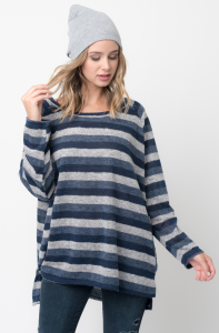 Shop for Hi Lo Long Sleeve Dolman Striped Sweater Tunic on Caralase.com