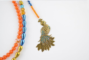 Peacock Necklace with Double Layered Electroplate