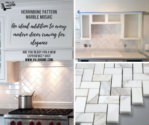 Herringbone pattern polished marble tiles