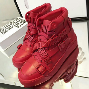 Moschino Logo Plaques Womens High Top Sneaker Red