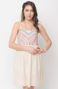 embroidered baby doll dress - caralase