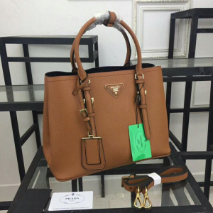 Prada 1BG820 Leather Tote In Brown
