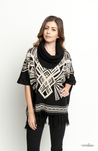 Buy online cowl neck fringed poncho for women on sale at caralase.com