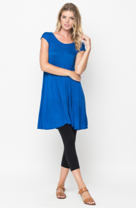 Royal blue Jersey Cap Sleeve Dress Tunic
