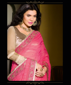 Pink Cream Half Half Saree - online shopping india