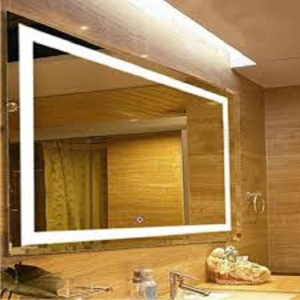 Large Rectangular Wall Mounted Vanity Mirror With LED Light