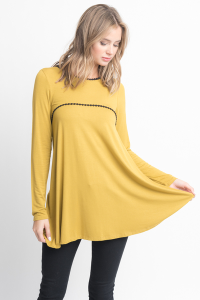 Shop for pom pom trim long sleeve jersey tunic top on caralase.com