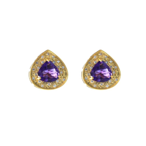 Amethyst Stone And Gold With Diamond Studs 18 k