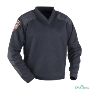 Blue V-Neck Fleece Law Sweaters