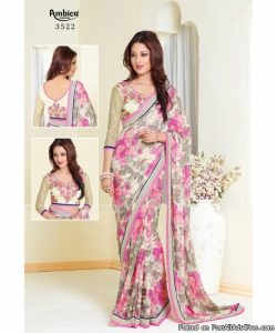 online shopping india - Multicolor Georgette Printed Saree