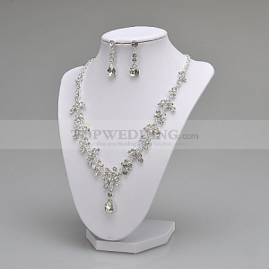 Dainty Earrings and Necklace Set with Lovely Round Rhinestones