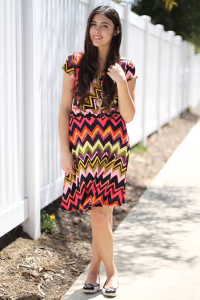 MULTI CHEVRON WRAP DRESS