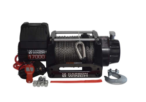 Carbon 12V 17000lb Heavy Duty Winch with Synthetic Rope