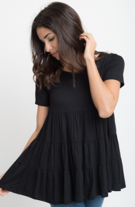 Buy Short Sleeve Ruffled Tiered Tunic Online $10 -@caralase.com