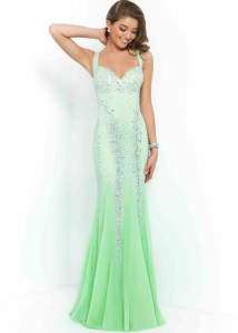 2015 Honeydew Straps Beaded Open Back Long Fitted