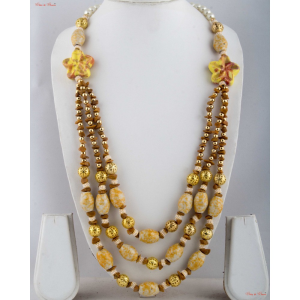 Fashion Necklaces - A bit of floral inspiration with three-layered neck piece attached to white Pear