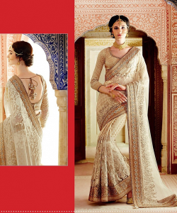 online shopping india - Golden & Cream Saree