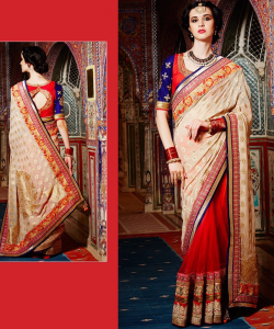Orange & Beige Saree - online shopping india