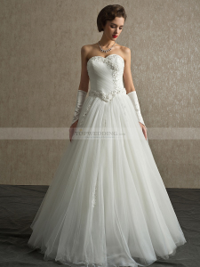 Floral Pearl Detailed Tulle A Line Wedding Dress with Lace Up Back