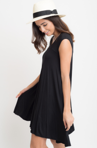 Black Jersey Cap Sleeve Dress Tunic