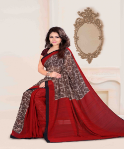 Bansi Vichitra Georgette Printed Red Saree - online shopping india