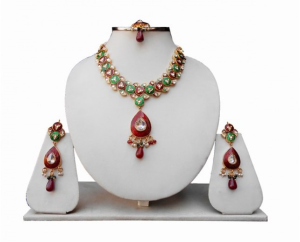 Designer Necklace Set with Earrings and Tikka