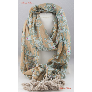 Scarf - Quake patterned scarf in shades of beige and light brown