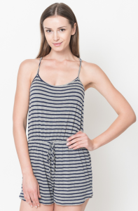 striped rompers navy