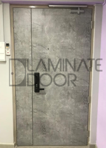 HDB Laminate Fire Rated Main Door with the latest Grey Stone Marble  | Laminate Door Pte Ltd