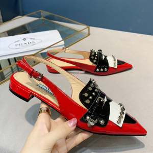 Prada Women Patent Leather Studded Sling Flat Slingback In Red