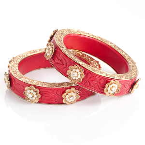 Mughal Magnificent Red Colored  Designer Bangle at stylearrest.com