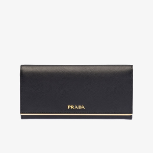 Prada 1MH132 Leather Flap Wallet In Black