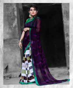 online shopping india -Designer Multicolor Printed Georgette Saree