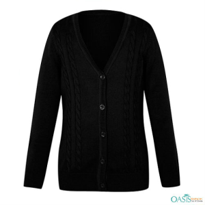 Deep Black Girls School Cardigan