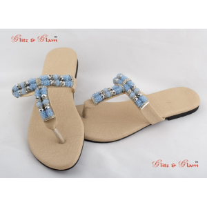 Fashion Sandals - T shape upper designed with shades of blue beads