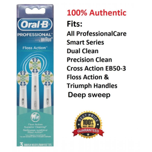 3 Oral B Floss Action Brush Heads Triumph Electric Toothbrush