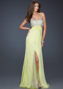 Light Lime Strapless Chiffon Beading Side Slit Pro