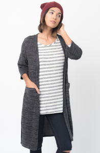 Shop for 3/4 Sleeves Front Pockets Maxi Cardigan Online - $48 - on caralase.com