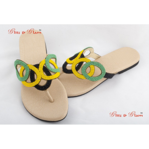 Fashion Sandals - Colour blocking chappals in black, green and yellow