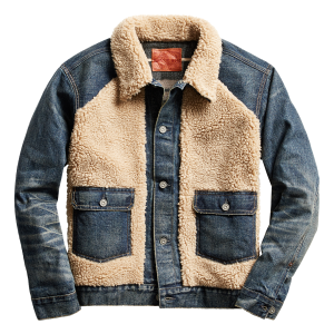 RRL by Ralph Lauren Fleece Panelled Grizzly Denim Jacket Indigo