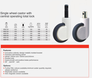 single wheel central locking casters specs