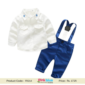 Boys 1st Birthday Outfit with Shirt and Suspender Pant
