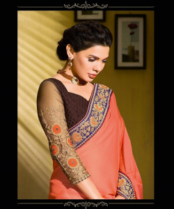 online shopping india - Coffe Peach Half Half Saree