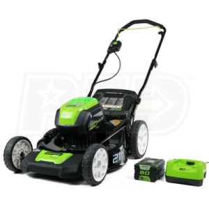 "Greenworks (21"") 80-Volt Lithium-Ion 3-In-1 Cordless Electric Lawn Mower (with Battery & Charger)"