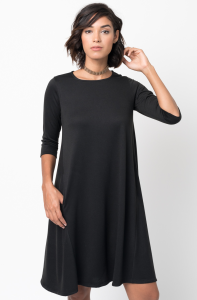 Shop for Pocket Terry A Line Dress Swing Long Sleeve Crew Neck Online on Caralase.com
