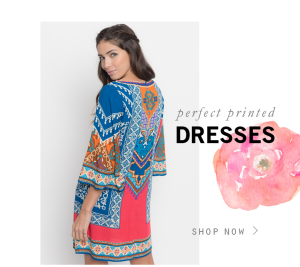 take 25% off  on print dresses use code flowerpowe