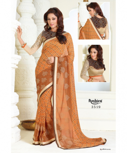 Light Coffe Orange Georgette Print Saree at online shopping india