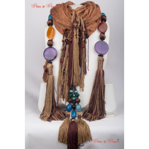 Jewelled Scarf - Tassel style stone attached to different-coloured flat stones in light orange, purp