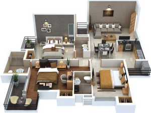 3-BHK-Unit-1-1553-SqFt flats in Noida Extension